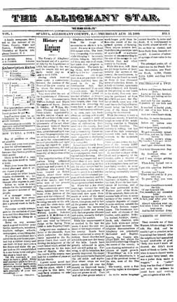 Alleghany Star Newspaper - Reprint of Vol.1 Num. 1